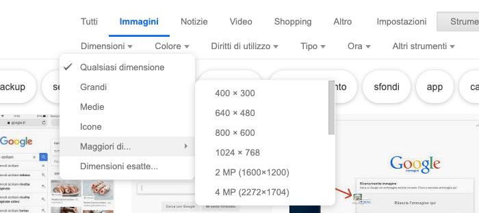 Cercare più dimensioni di una immagine