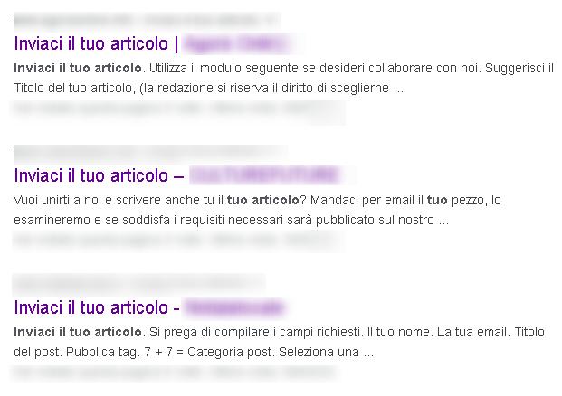 Inviaci il tuo articolo