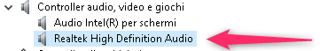 Realtek High Definition Audio - Gestione dispositivi
